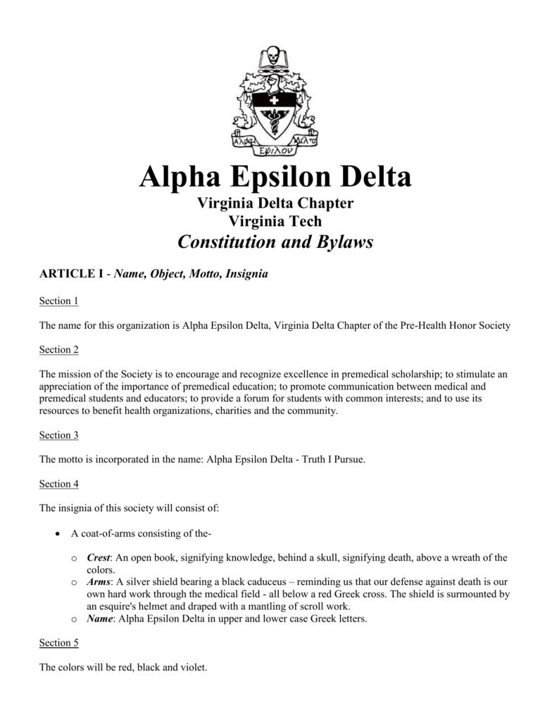 Name, Object, Motto, Insignia - Alpha Epsilon Delta