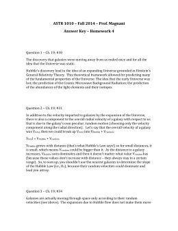 ASTR 1010 – Fall 2014 – Prof. Magnani Answer Key – Homework 4