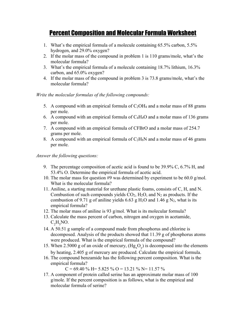 Percent Composition and Molecular Formula Worksheet Key – Empirical and Molecular Formula Worksheet