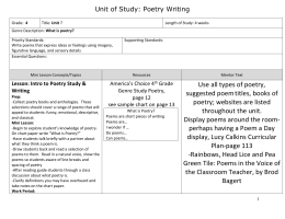 Unit of Study Poetry Writing-Fourth Grade