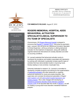 rogers memorial hospital adds behavioral activation specialist
