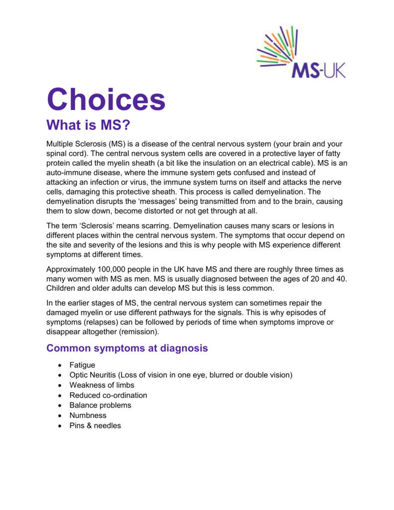choices what is ms? - ms-uk