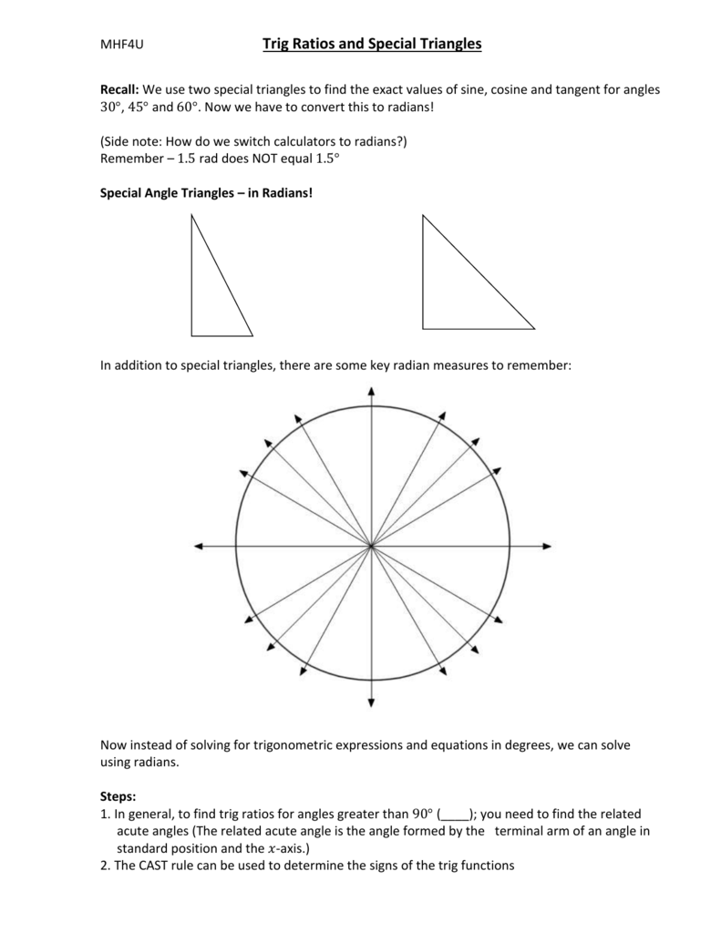 Lesson 2 – Special Angle Triangles