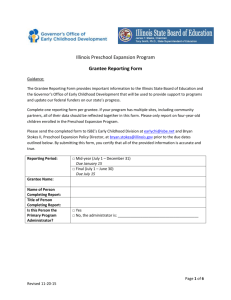 Illinois Preschool Expansion Program Grantee Reporting Form