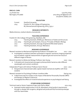 Erica D. Chin Curriculum Vitae Page of 3 ERICA D. CHIN 123 Anoka