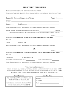 Prom Ticket ORDER Form