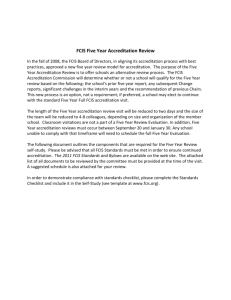 FCIS Five Year Accreditation Review