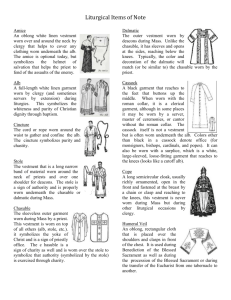 Handout for Vestments and Vessels