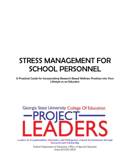 Stress Management for School Personnel STRESS MANAGEMENT