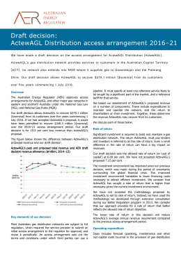 Draft decision - ActewAGL Distribution access arrangement
