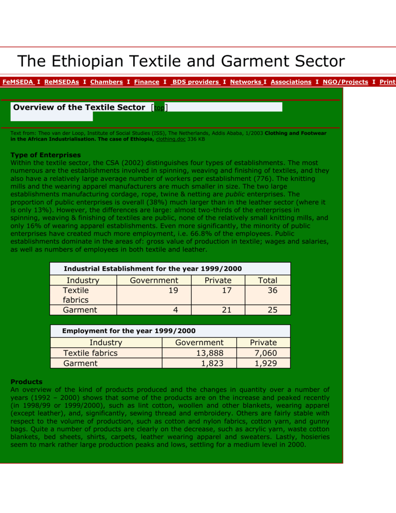 The Ethiopian Textile and Garment Sector Home I FeMSEDA I