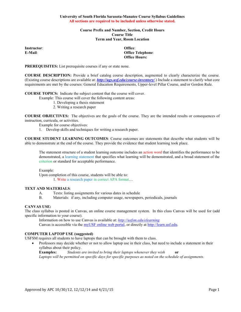 USFSM Syllabus Template - University of South Florida Sarasota