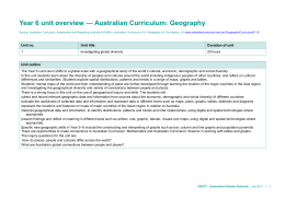 Year 6 unit overview * Australian Curriculum: Geography