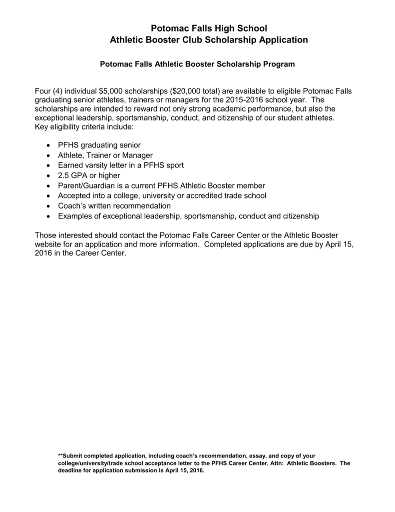 pfhs athletic booster scholarship application 2015 2016