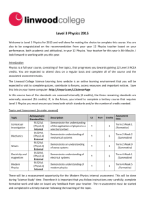 Level 3 Physics Student Course Information