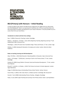 BEd (Primary) with Honours – Initial Reading