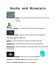Rocks and Minerals Study Guide