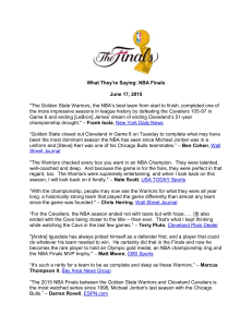 "What They`re Saying: NBA Finals June 17, 2015 ""The Golden State"