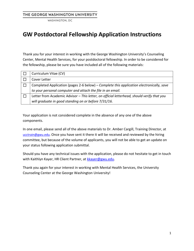 postdoctoral fellowship application page