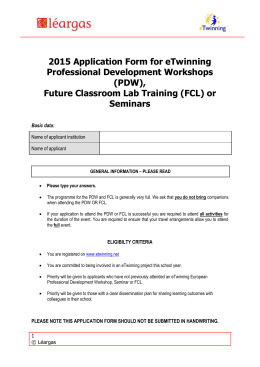 eTwinning Meetings & Training Application Form Apply