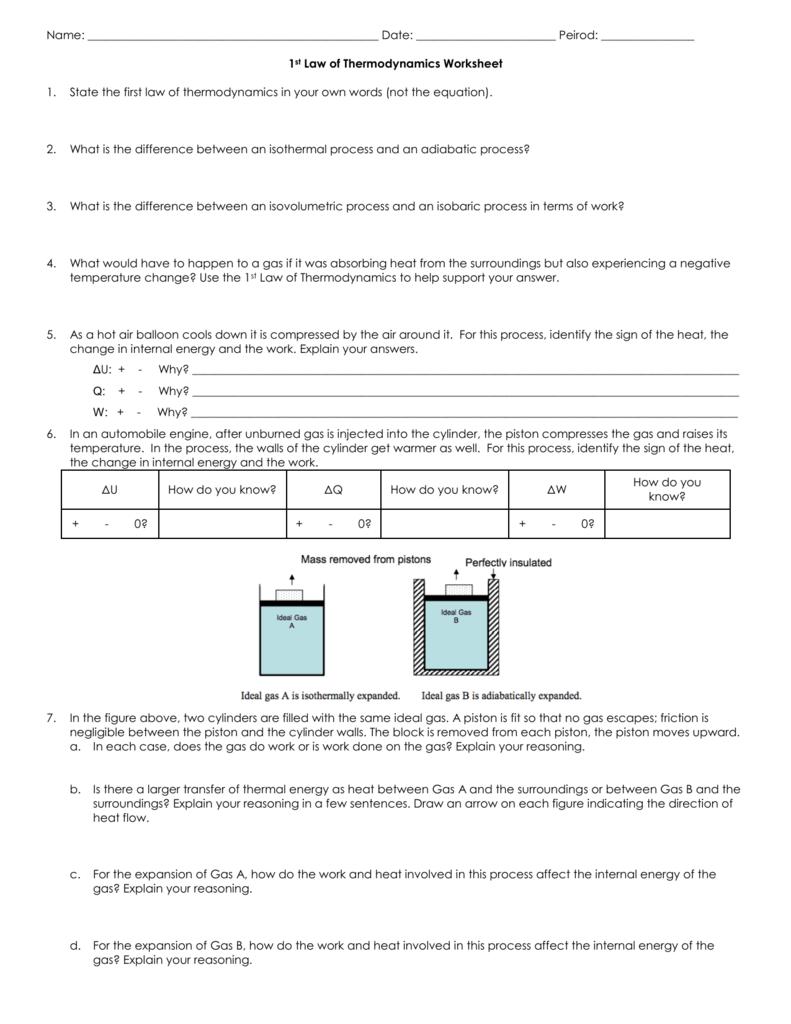 Worksheets Thermodynamics Worksheet worksheet 1st law of thermodynamics