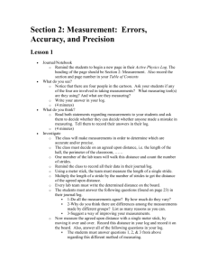 Section 2: Measurement: Errors, Accuracy, and Precision