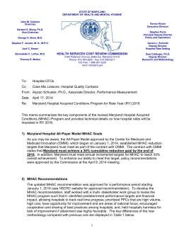 MHAC FY 2016 Memo - Maryland Health Services Cost Review