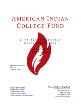 Application Deadline - American Indian College Fund