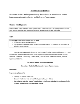 Purpose Of Thesis Statement In An Essay Thematic Essay Belief Systems Thesis Statement Essay Example also Animal Testing Essay Thesis Theme  Belief Systems Essay High School Experience Essay