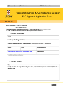 RSC Approval Application Form for Ionising Radiation