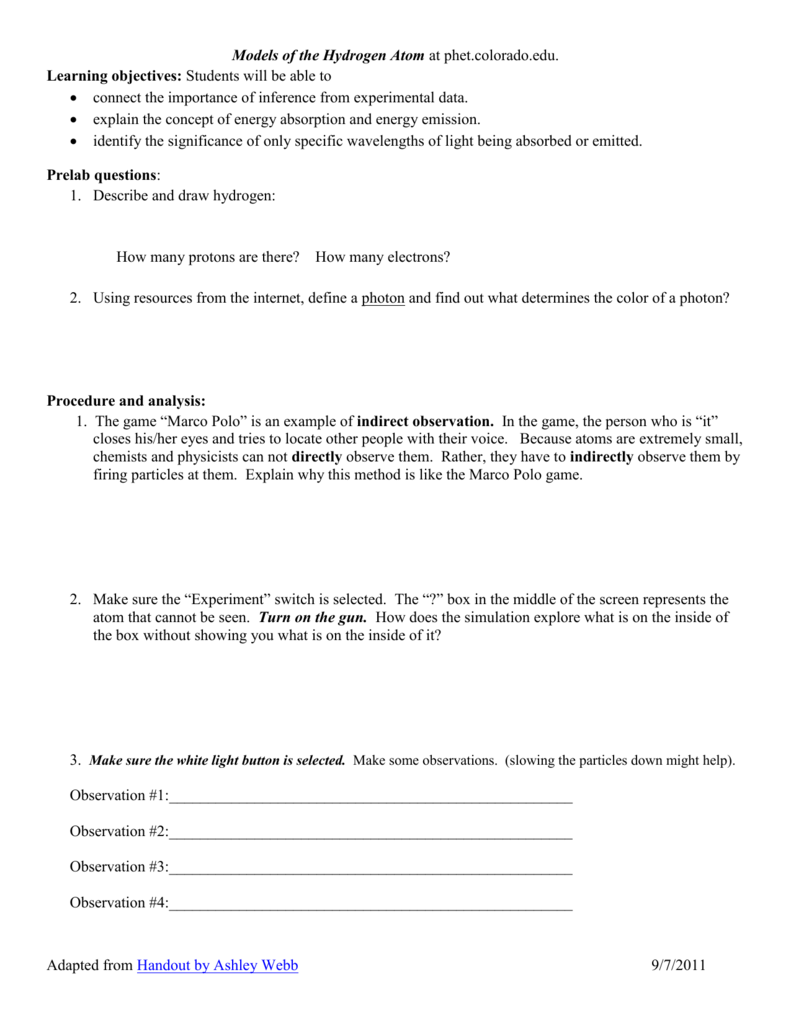 worksheet Electron Energy And Light Worksheet Answers models of the hydrogen atom