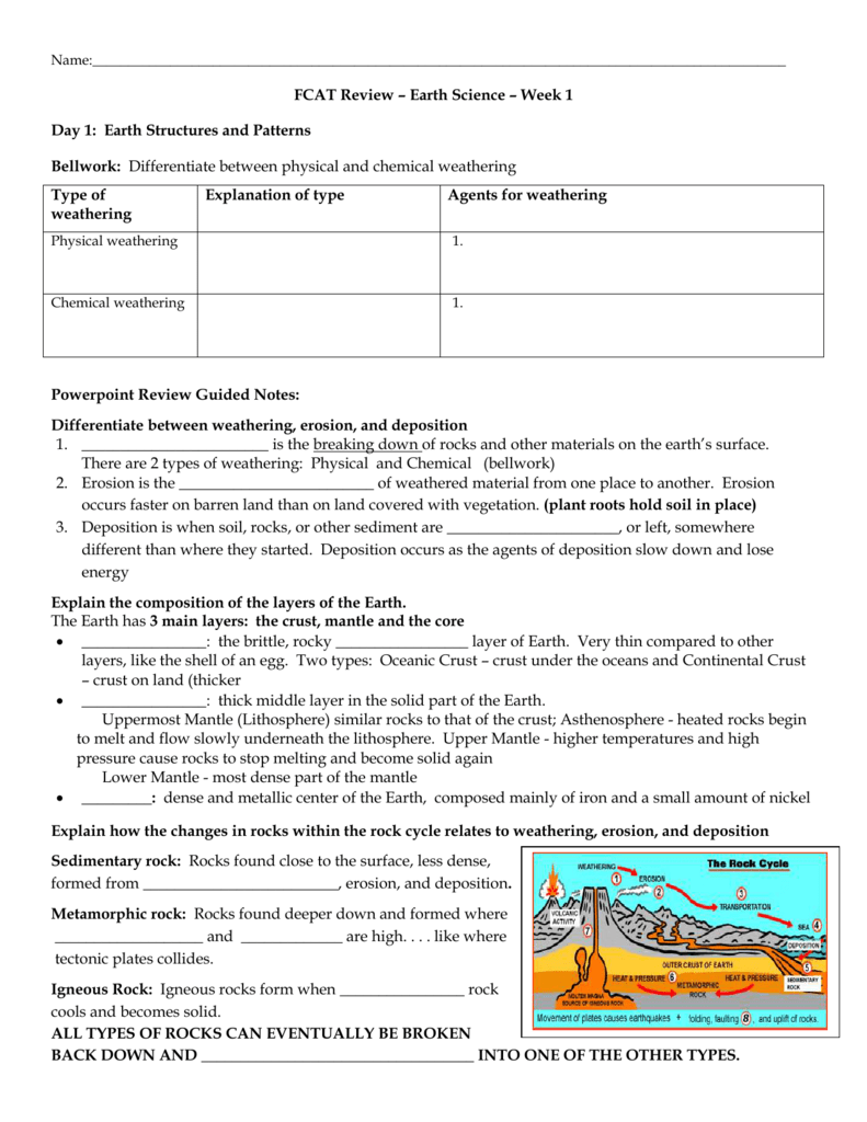 FCAT REVIEW Earth Science Worksheet