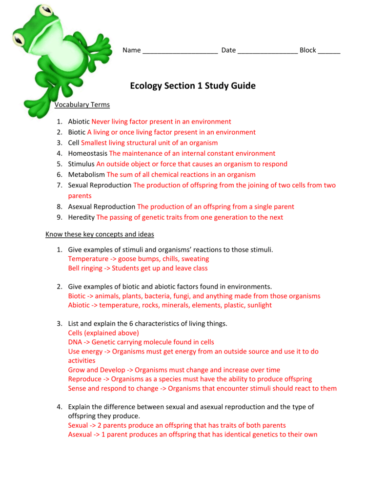 ecology 1 study guide answer key