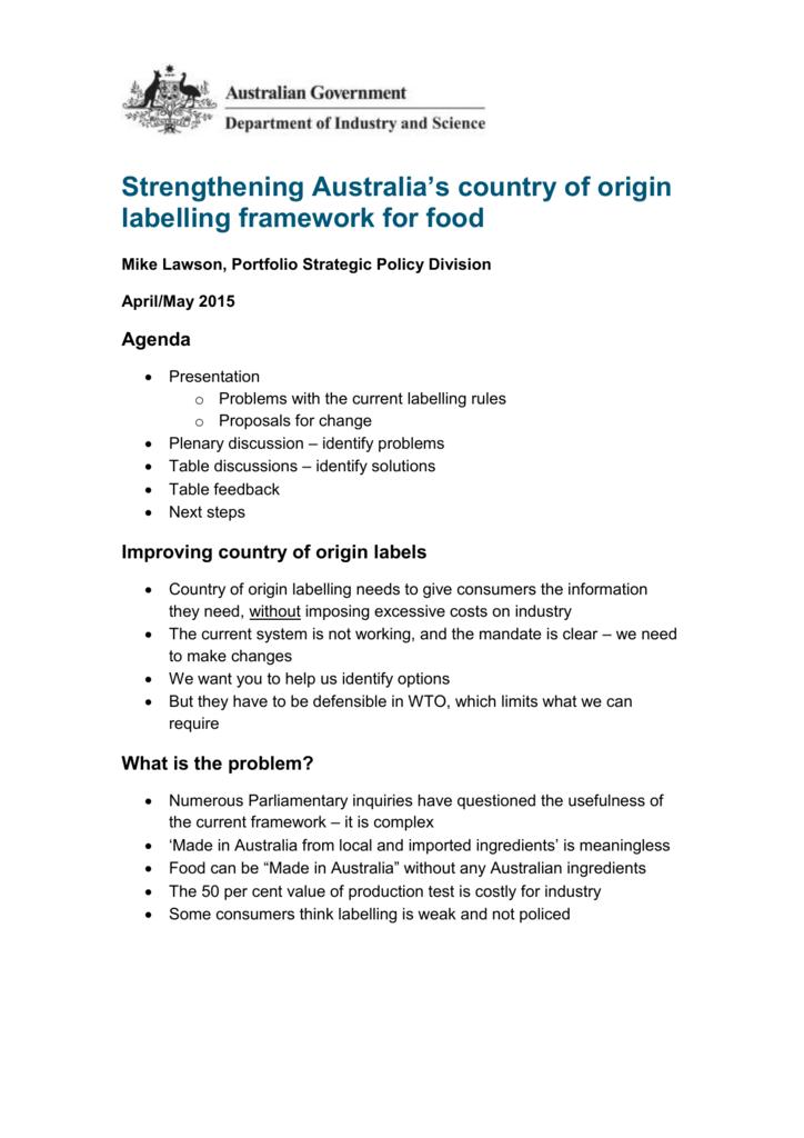 Strengthening Australia`s country of origin labelling