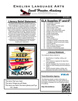 ELA Orientation Newsletter