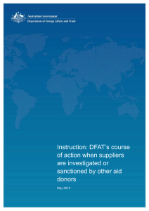 Instruction: Investigation or sanction of suppliers by other aid donors