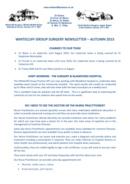 Practice Newsletter - Whitecliff Group Practice