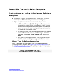 Purdue University Calumet Accessible Syllabus Template