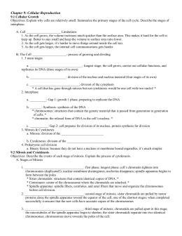 Ch 9 Cellular Reproduction Notes
