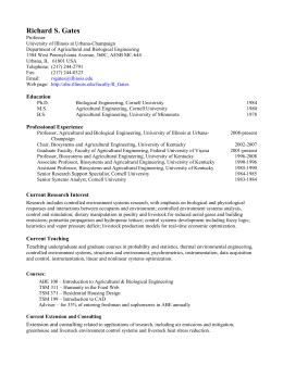 Curriculum vitae - Department of Agricultural and Biological