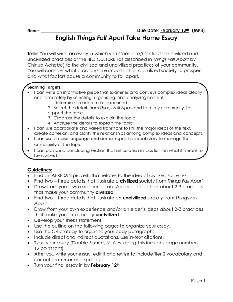 things fall apart written task