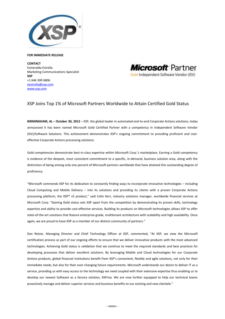 Xsp Joins Top 1 Of Microsoft Partners Worldwide To Attain