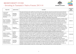 Biodiversity Fund Investing in Tasmania*s Native Forests 2013