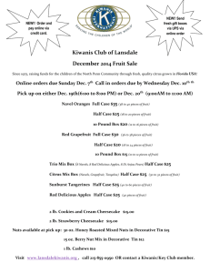 Kiwanis Club of Lansdale December 2014 Fruit Sale