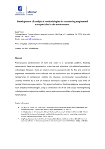 Development of analytical methodologies for monitoring engineered