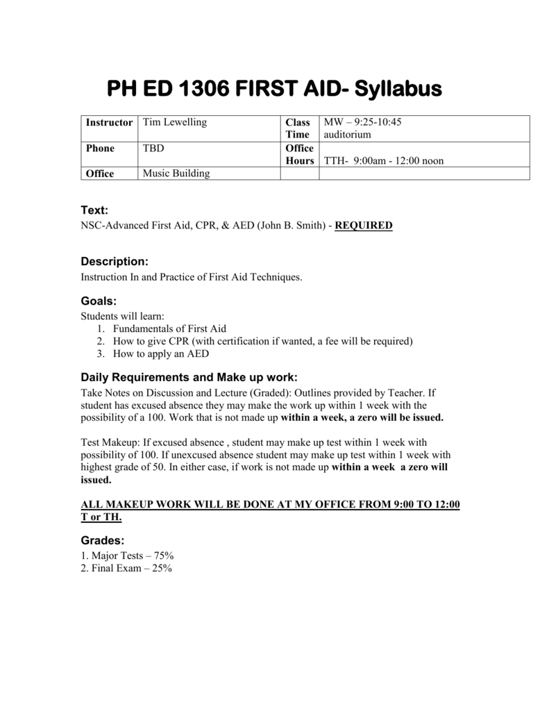 First Aid Phed 1306