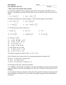 PreCalculus Ch. 4 Review Worksheet with Keys