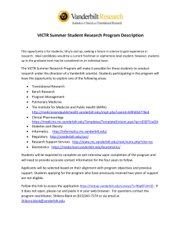 VICTR Summer Student Research Program Description