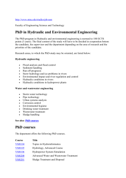 PhD in Hydraulic and Environmental Engineering