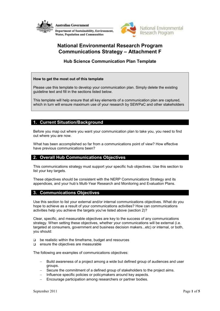 Hub Science Communication Plan Template